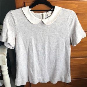 J Crew Peter Pan collar shirt sleeve shirt M